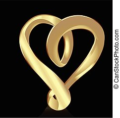 Gold Heart Symbol logo