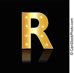 R letter with glowing lights logo