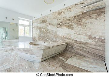 lujo, cuarto de baño, con, Mármol, azulejos,