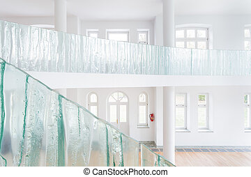 Glass balustrade in spacious house - View of glass...