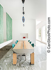 Modern table in expensive home