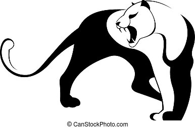 Decor animal silhouette illustratio - Jaguar, cougar, puma,...