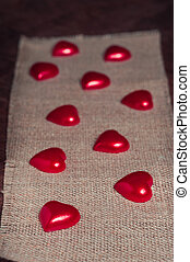 Little red hearts on the sackingValentines day