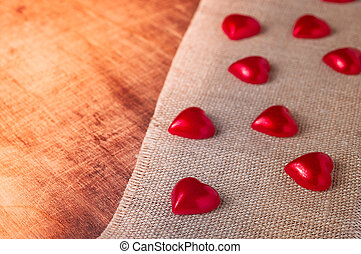 Valentines dayLittle red hearts on the sacking