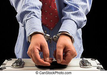 arrest - Handcuffs on the man\'s hands