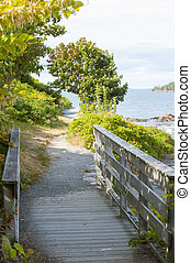 Seaside path - Scenic walking path meanders along Bar Harbor...