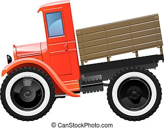 vintage truck - Vector illustration of retro lorry Simple...
