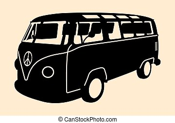 MiniVan Hippie Silhouette - Vector pop art illustration...