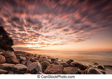 Sunset on the Baltic Sea - Sunset on shore of the Baltic...