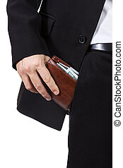 Male hand puts purse into his trouser pocket - Businessman...
