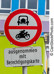 prohibition sign for car and motorcycle, symbol of transport...