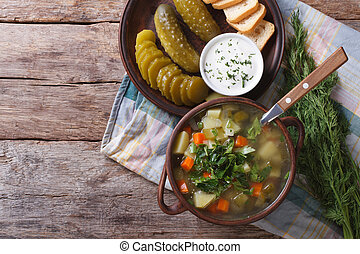 Polish soup with sour cucumbers horizontal top view - Polish...