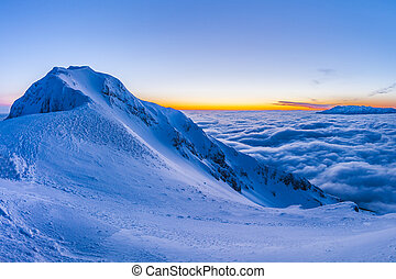 Piatra Craiului Mountains, Romania - before sunrise in...