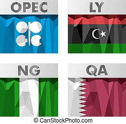 OPEC countries flags - Flags of countries belonging to OPEC...