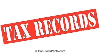 Tax records - Stamp with text tax records inside, vector...