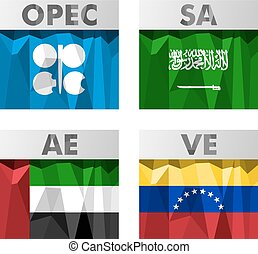 OPEC countries flags. - Flags of countries belonging to...