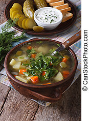 Polish cucumber soup on the table close-up. Vertical -...