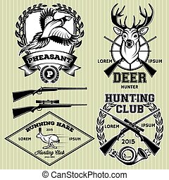 set of vector emblems with a deer, hare, pheasant for...