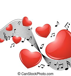 music of Love - Romantic background with hearts and notes...