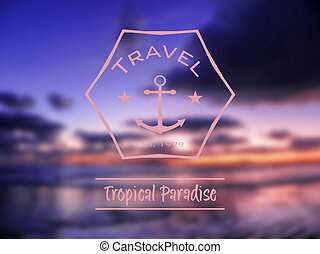 travel tropical paradise hipster retro logo