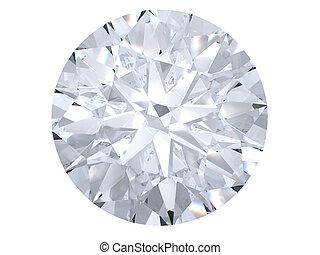 White diamond top view on white background