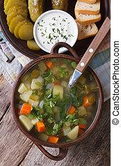 Rassolnik soup with cucumber closeup top view - Rassolnik...