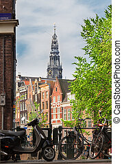 canal ring, Amsterdam - bridge with bike in old town of...