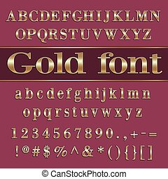 Vector gold coated alphabet letters and digits on purple...