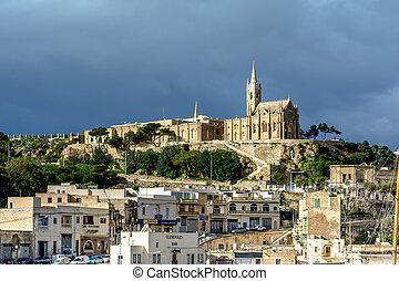 Mgarr village with Lourdes Church, Gozo, Malta - Lourdes...