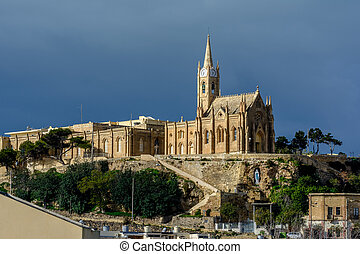 Lourdes Church, Gozo, Malta - Lourdes Church, a neo-gothic...