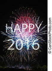 Happy New Year 2016 with colorful sparklers. The words Happy...