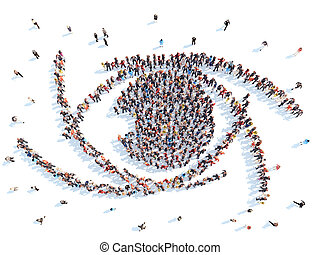 People in an abstract eye.