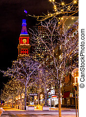 Denver 16th Street Mall in Orange and Blue - DENVER COLORADO...