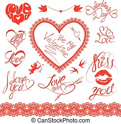 Set of holiday card design elements Happy Valentine`s Day...