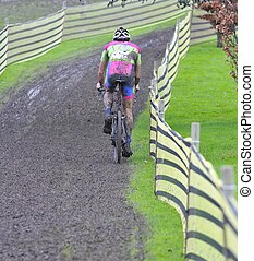 Cyclist compete in cycle race of cyclocross - Unidentified...