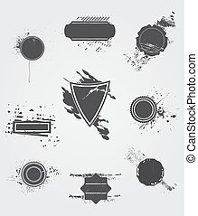 Set of old dark vintage grunge label - Set of vector old...