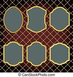 Set of design elements-golden vintage frames.