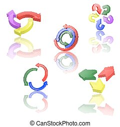 Set of icons or abstract designs - 3d arrows circling - Set...