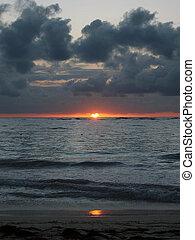 sunrise on the beach of the caribian