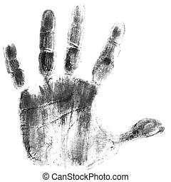 Black hand print on white background