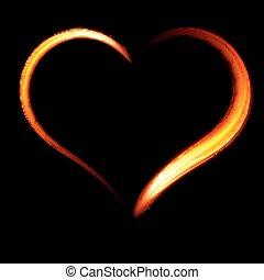 Fiery heart on a black background.