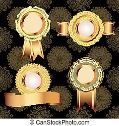 Set of vintage golden design elements.