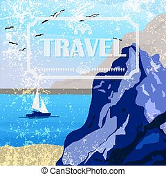 Summer seaside view poster in retro style Vector...
