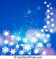 Abstract winter blue background with snowflakes and...
