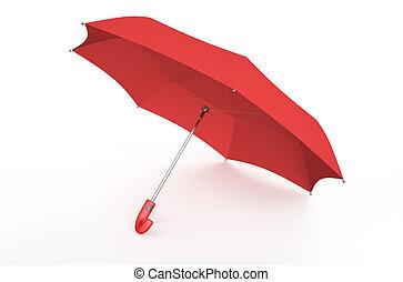 red umbrella isolated on white background