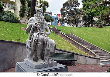 Zelândia, Novo,  Moses, estátua,  Auckland