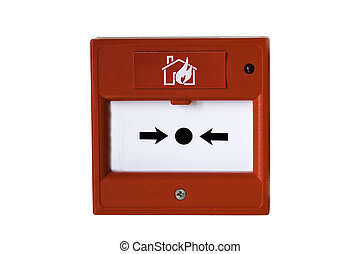 Wall mounted red fire alarm button on a white background