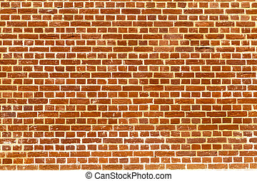 Plain redbrick wall - Sunlit plain red brick wall