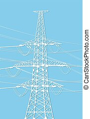 power lines - Vector illustration of electricity pylons on...