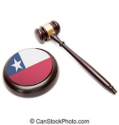 Judge gavel and soundboard with national flag on it - Chile